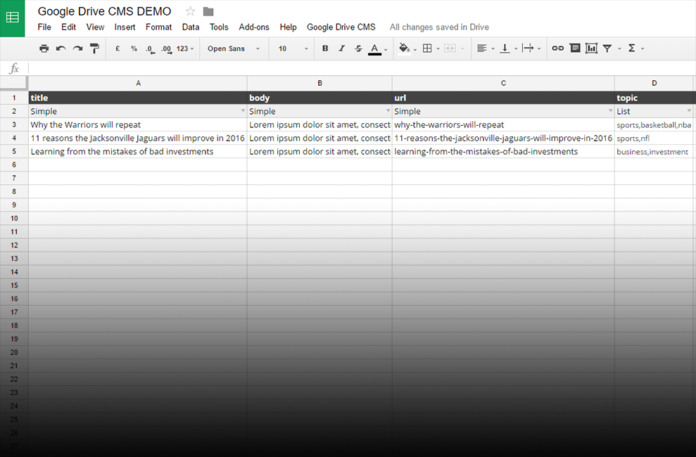 Demo Spreadsheet for a simple blog